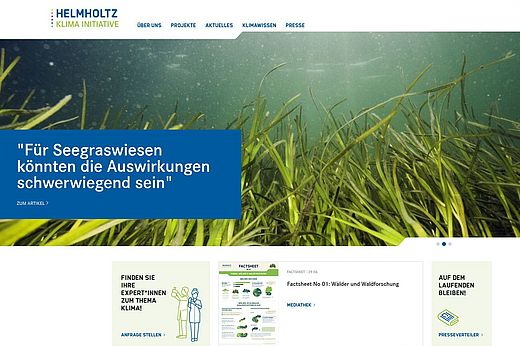 Screenshot Helmholtz-Klima-Initiative