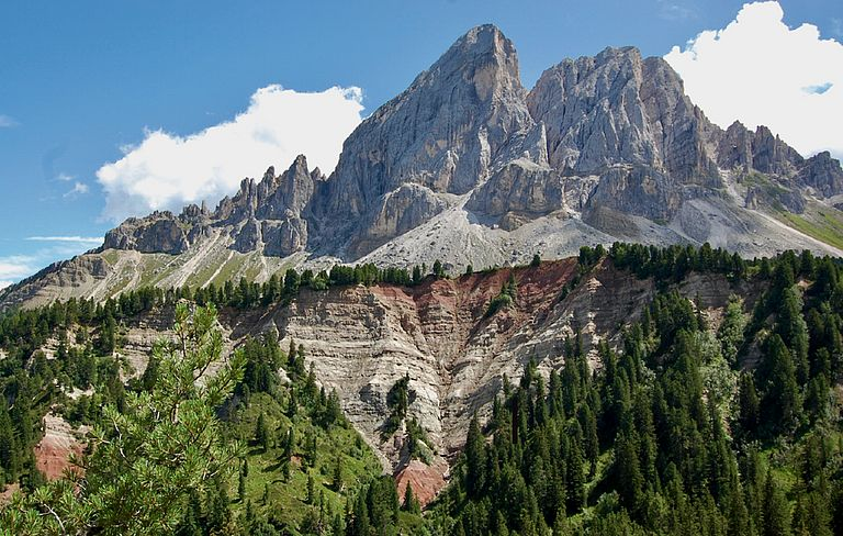 Sass de Putia, northern Italy. Dolomites in Southern Alps harbour unique Permian-Triassic sections with rich marine assemblages including brachiopods that record the last moments of Palaeozoic life. Photo by Dr. Renato Posenato (Ferrara University).