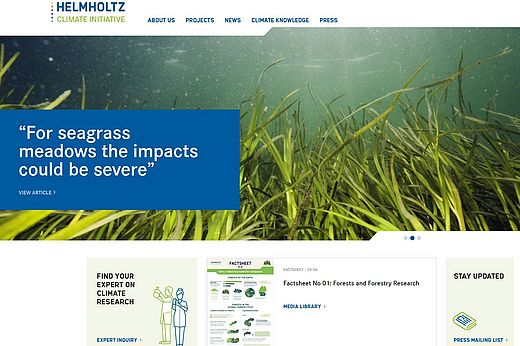 Screenshot Helmholtz Climate Initiative