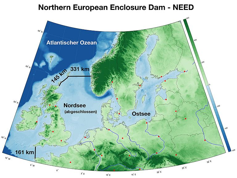 Map of the North Sea with the two dam projects. From Groeskamp / Kjellsson, 2020).
