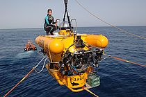 The submersible JAGO in the Red Sea during a scientific cruise with RV PELAGIA in spring 2012. Photo: JAGO-Team, GEOMAR