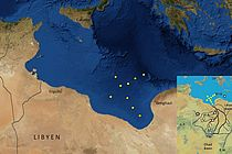 Map of the nine sampling stations in the Gulf of Sirte. (from Osborne et al., 2008)