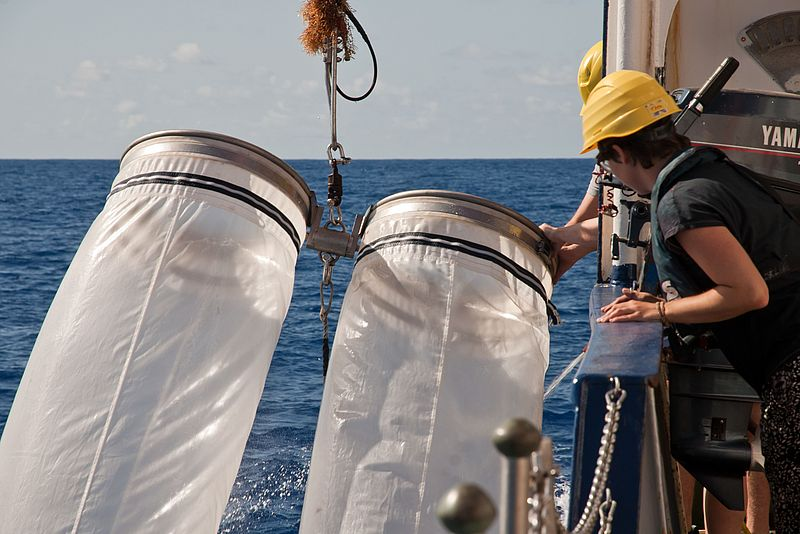 A bongo net is hoisted on board the research vessel POSEIDON. Photo: Mark Lenz/GEOMAR