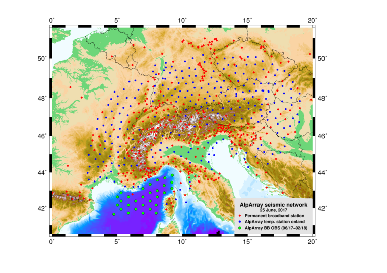 The AlpArray project covers the Alps with a dense network of seismic stations. The green dots show the ocean bottom seismometers in the Ligurian Sea. Chart: AlpArray