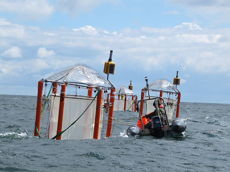 Mesocosm experiment in the Baltic Sea. picture: GEOMAR.