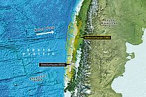 The Nazca plate moves eastwards with a rate of 6.6 cm per year. Off the Chilean coast it collides with the South American plate and is submerged beneath it. In this process, strains build up between the plates - until they break and the earth trembles. Image reproduced from the GEBCO world map 2014, www.gebco.net