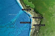 Map of the seismic gap in northern Chile. Graphic: GEOMAR, based on GEBCO world map, www.gebco.net