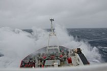 View of the stormy Drake Passage from the British research vessel RRS JAMES CLARK ROSS